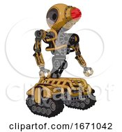 Robot Containing Round Head And Red Laser Crystal Array And Heavy Upper Chest And No Chest Plating And Tank Tracks Construction Yellow Halftone Facing Left View