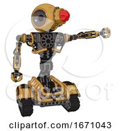 Robot Containing Round Head And Red Laser Crystal Array And Heavy Upper Chest And No Chest Plating And Tank Tracks Construction Yellow Halftone Pointing Left Or Pushing A Button