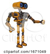 Android Containing Dual Retro Camera Head And Retro 80s Head And Heavy Upper Chest And No Chest Plating And Ultralight Foot Exosuit Primary Yellow Halftone Interacting