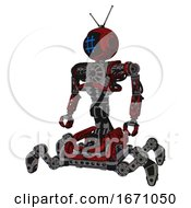 Cyborg Containing Digital Display Head And Hashtag Face And Retro Antennas And Heavy Upper Chest And No Chest Plating And Insect Walker Legs Grunge Dots Dark Red Standing Looking Right Restful Pose