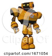 Bot Containing Dual Retro Camera Head And Retro Tech Device Head And Heavy Upper Chest And Circle Of Blue Leds And Light Leg Exoshielding Primary Yellow Halftone Hero Pose