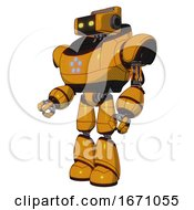 Bot Containing Dual Retro Camera Head And Retro Tech Device Head And Heavy Upper Chest And Circle Of Blue Leds And Light Leg Exoshielding Primary Yellow Halftone Facing Right View
