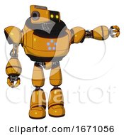 Bot Containing Dual Retro Camera Head And Retro Tech Device Head And Heavy Upper Chest And Circle Of Blue Leds And Light Leg Exoshielding Primary Yellow Halftone Pointing Left Or Pushing A Button
