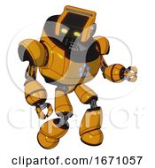 Bot Containing Dual Retro Camera Head And Retro Tech Device Head And Heavy Upper Chest And Circle Of Blue Leds And Light Leg Exoshielding Primary Yellow Halftone Fight Or Defense Pose