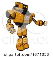 Bot Containing Dual Retro Camera Head And Retro Tech Device Head And Heavy Upper Chest And Circle Of Blue Leds And Light Leg Exoshielding Primary Yellow Halftone Interacting