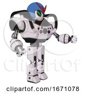 Mech Containing Grey Alien Style Head And Green Demon Eyes And Red V And Blue Helmet And Heavy Upper Chest And Chest Compound Eyes And Prototype Exoplate Legs White Halftone Toon Interacting