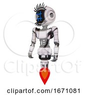 Cyborg Containing Digital Display Head And Hashtag Face And Eye Lashes Deco And Light Chest Exoshielding And Ultralight Chest Exosuit And Jet Propulsion White Halftone Toon