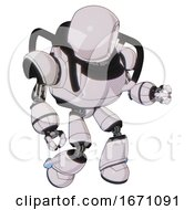 Bot Containing Round Head And Heavy Upper Chest And Light Leg Exoshielding White Halftone Toon Fight Or Defense Pose
