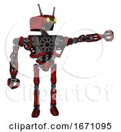 Robot Containing Dual Retro Camera Head And Cyborg Antenna Head And Heavy Upper Chest And No Chest Plating And Ultralight Foot Exosuit Red Blood Grunge Material Pointing Left Or Pushing A Button