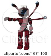 Robot Containing Digital Display Head And Stunned Expression And Led And Protection Bars And Light Chest Exoshielding And Chest Green Blue Lights Array And Blue Eye Cam Cable Tentacles
