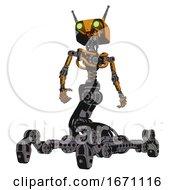 Droid Containing Dual Retro Camera Head And Cyborg Antenna Head And Light Chest Exoshielding And No Chest Plating And Insect Walker Legs Primary Yellow Halftone Hero Pose