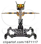 Droid Containing Dual Retro Camera Head And Cyborg Antenna Head And Light Chest Exoshielding And No Chest Plating And Insect Walker Legs Primary Yellow Halftone T Pose