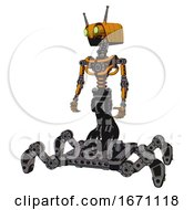 Droid Containing Dual Retro Camera Head And Cyborg Antenna Head And Light Chest Exoshielding And No Chest Plating And Insect Walker Legs Primary Yellow Halftone Standing Looking Right Restful Pose