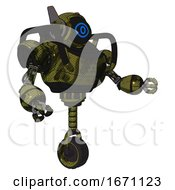 Bot Containing Digital Display Head And Large Eye And Winglets And Heavy Upper Chest And Unicycle Wheel Grunge Army Green Interacting