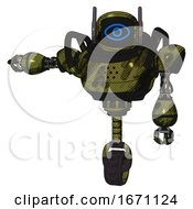 Bot Containing Digital Display Head And Large Eye And Winglets And Heavy Upper Chest And Unicycle Wheel Grunge Army Green Arm Out Holding Invisible Object