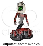 Automaton Containing Old Computer Monitor And Angry Pixels Face And Old Computer Magnetic Tape And Light Chest Exoshielding And Ultralight Chest Exosuit And Tank Tracks Grunge Dots Cherry Tomato Red