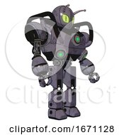 Automaton Containing Grey Alien Style Head And Cats Eyes And Bug Antennas And Heavy Upper Chest And Chest Green Energy Cores And Prototype Exoplate Legs Light Lavender Metal Facing Left View
