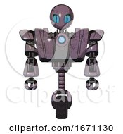 Droid Containing Grey Alien Style Head And Blue Grate Eyes And Heavy Upper Chest And Heavy Mech Chest And Blue Energy Fission Element Chest And Unicycle Wheel Lilac Metal Front View