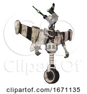 Automaton Containing Dual Retro Camera Head And Communications Array Head And Light Chest Exoshielding And Stellar Jet Wing Rocket Pack And No Chest Plating And Unicycle Wheel Halftone Sketch