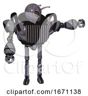 Robot Containing Grey Alien Style Head And Metal Grate Eyes And Bug Antennas And Heavy Upper Chest And Chest Vents And Ultralight Foot Exosuit Light Lavender Metal