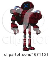 Robot Containing Digital Display Head And Wince Symbol Expression And Heavy Upper Chest And Heavy Mech Chest And Battle Mech Chest And Ultralight Foot Exosuit Grunge Dots Royal Red Hero Pose