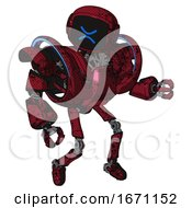 Robot Containing Digital Display Head And Wince Symbol Expression And Heavy Upper Chest And Heavy Mech Chest And Battle Mech Chest And Ultralight Foot Exosuit Grunge Dots Royal Red