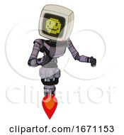 Robot Containing Old Computer Monitor And Yellow Happy Face Display And Light Chest Exoshielding And Ultralight Chest Exosuit And Jet Propulsion Matted Pink Metal Fight Or Defense Pose