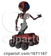 Automaton Containing Digital Display Head And Wide Smile And Light Chest Exoshielding And No Chest Plating And Six Wheeler Base Grunge Matted Orange Interacting