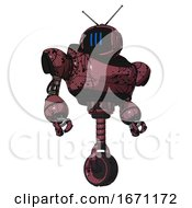 Bot Containing Digital Display Head And Three Vertical Line Design And Retro Antennas And Heavy Upper Chest And Unicycle Wheel Muavewood Halftone Grunge Hero Pose