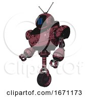Bot Containing Digital Display Head And Three Vertical Line Design And Retro Antennas And Heavy Upper Chest And Unicycle Wheel Muavewood Halftone Grunge Facing Right View
