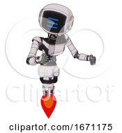 Cyborg Containing Digital Display Head And Three Horizontal Line Design And Light Chest Exoshielding And Ultralight Chest Exosuit And Jet Propulsion White Halftone Toon Fight Or Defense Pose