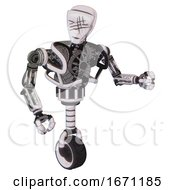 Android Containing Humanoid Face Mask And Slashes War Paint And Heavy Upper Chest And No Chest Plating And Unicycle Wheel White Halftone Toon Fight Or Defense Pose