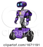 Droid Containing Dual Retro Camera Head And Cute Retro Robo Head And Light Chest Exoshielding And Yellow Star And Rocket Pack And Tank Tracks Secondary Purple Halftone