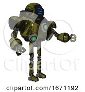 Droid Containing Digital Display Head And Three Horizontal Line Design And Heavy Upper Chest And Chest Green Energy Cores And Ultralight Foot Exosuit Grunge Army Green Interacting
