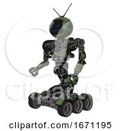 Cyborg Containing Digital Display Head And Sleeping Face And Retro Antennas And Heavy Upper Chest And No Chest Plating And Six Wheeler Base Grunge Grass Green Facing Right View