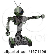 Cyborg Containing Digital Display Head And Sleeping Face And Retro Antennas And Heavy Upper Chest And No Chest Plating And Six Wheeler Base Grunge Grass Green Pointing Left Or Pushing A Button