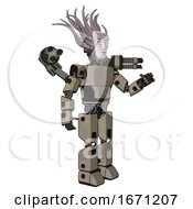 Automaton Containing Humanoid Face Mask And Binary War Paint And Light Chest Exoshielding And Prototype Exoplate Chest And Minigun Back Assembly And Prototype Exoplate Legs Grungy Fiberglass