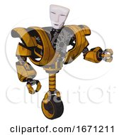 Droid Containing Humanoid Face Mask And Heavy Upper Chest And Heavy Mech Chest And Unicycle Wheel Worn Construction Yellow Fight Or Defense Pose