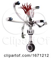 Droid Containing Humanoid Face Mask And Blood Tears And Light Chest Exoshielding And Blue Eye Cam Cable Tentacles And No Chest Plating And Unicycle Wheel White Halftone Toon Interacting