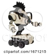 Android Containing Bird Skull Head And White Eyeballs And Crow Feather Design And Heavy Upper Chest And Chest Energy Gun And Six Wheeler Base Off White Toon Interacting