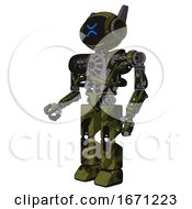Robot Containing Digital Display Head And Wince Symbol Expression And Winglets And Heavy Upper Chest And No Chest Plating And Prototype Exoplate Legs Grunge Army Green Facing Right View