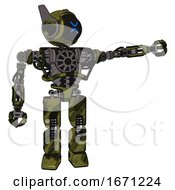 Robot Containing Digital Display Head And Wince Symbol Expression And Winglets And Heavy Upper Chest And No Chest Plating And Prototype Exoplate Legs Grunge Army Green