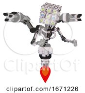 Robot Containing Dual Retro Camera Head And Cube Array Head And Light Chest Exoshielding And Minigun Back Assembly And No Chest Plating And Jet Propulsion White Halftone Toon Fight Or Defense Pose