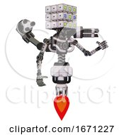 Robot Containing Dual Retro Camera Head And Cube Array Head And Light Chest Exoshielding And Minigun Back Assembly And No Chest Plating And Jet Propulsion White Halftone Toon Interacting