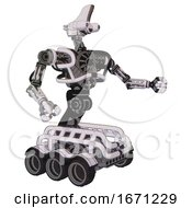 Droid Containing Dual Retro Camera Head And Reversed Fin Head And Heavy Upper Chest And No Chest Plating And Six Wheeler Base White Halftone Toon Interacting
