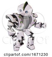 Automaton Containing Oval Wide Head And Blue Led Eyes And Techno Mohawk And Heavy Upper Chest And Heavy Mech Chest And Green Cable Sockets Array And Prototype Exoplate Legs White Halftone Toon