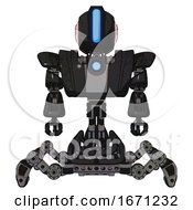 Automaton Containing Round Head And Large Vertical Visor And First Aid Emblem And Heavy Upper Chest And Heavy Mech Chest And Blue Energy Fission Element Chest And Insect Walker Legs Dirty Black