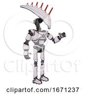 Droid Containing Flat Elongated Skull Head And Light Chest Exoshielding And Blue Energy Core And Ultralight Foot Exosuit White Halftone Toon Interacting