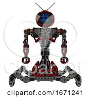 Cyborg Containing Digital Display Head And Hashtag Face And Retro Antennas And Heavy Upper Chest And No Chest Plating And Insect Walker Legs Grunge Dots Dark Red Front View