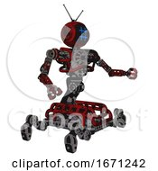 Cyborg Containing Digital Display Head And Hashtag Face And Retro Antennas And Heavy Upper Chest And No Chest Plating And Insect Walker Legs Grunge Dots Dark Red Interacting